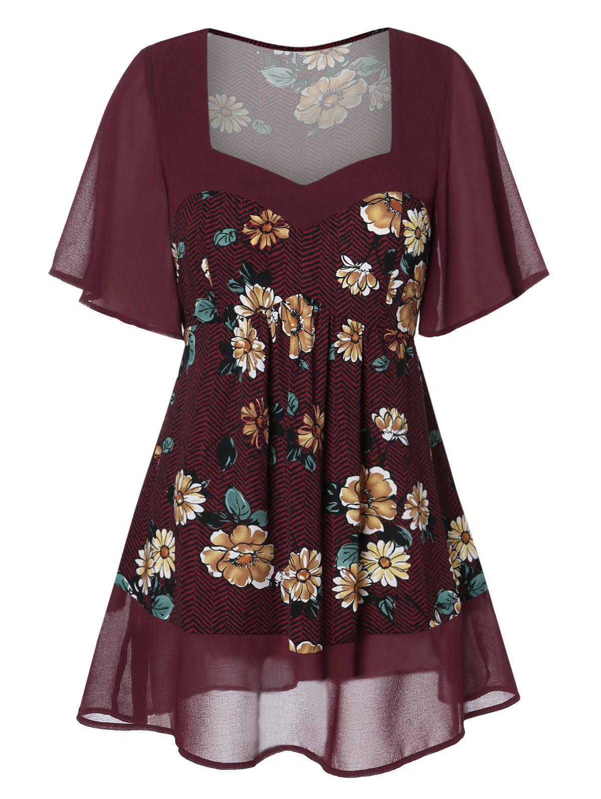 Plus Size Sweetheart Neck Floral Blouse - RED WINE 2X