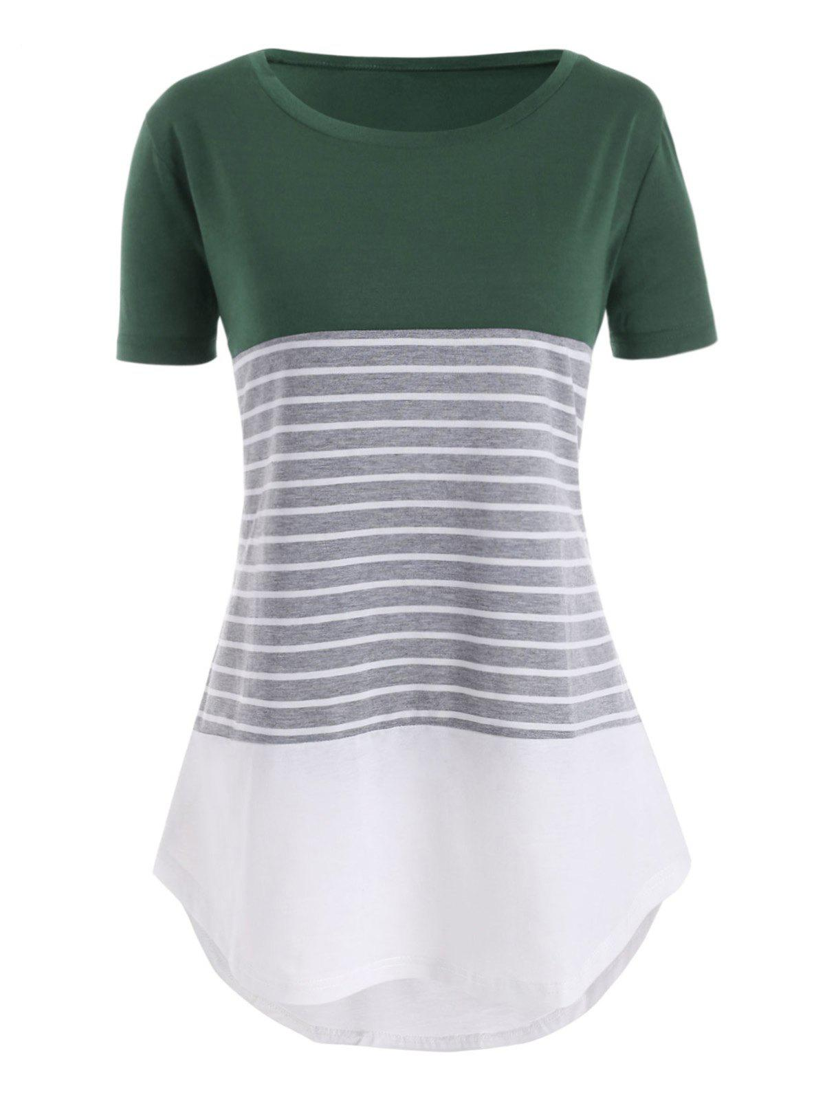 Contrast Stripes High Low Plus Size Tee - GREEN 4X