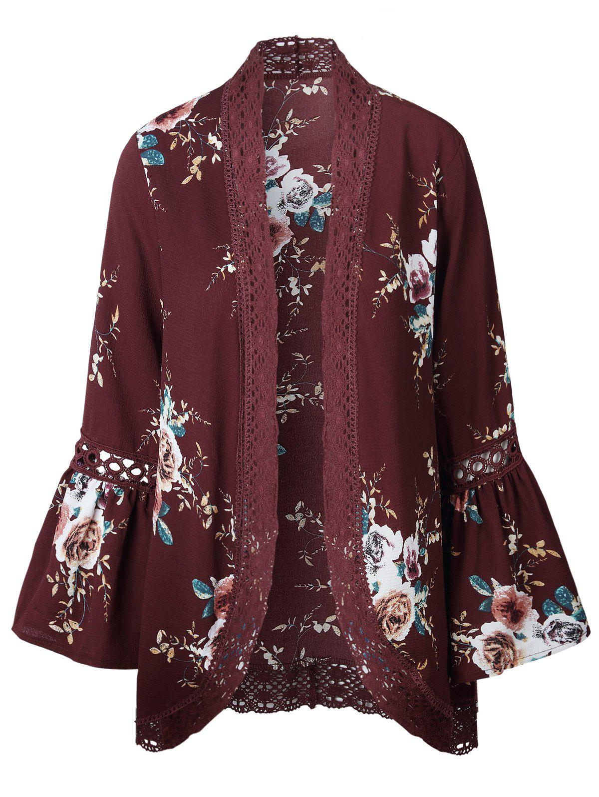 Flare Sleeve Flower Crochet Panel Tunic Cardigan - RED WINE M