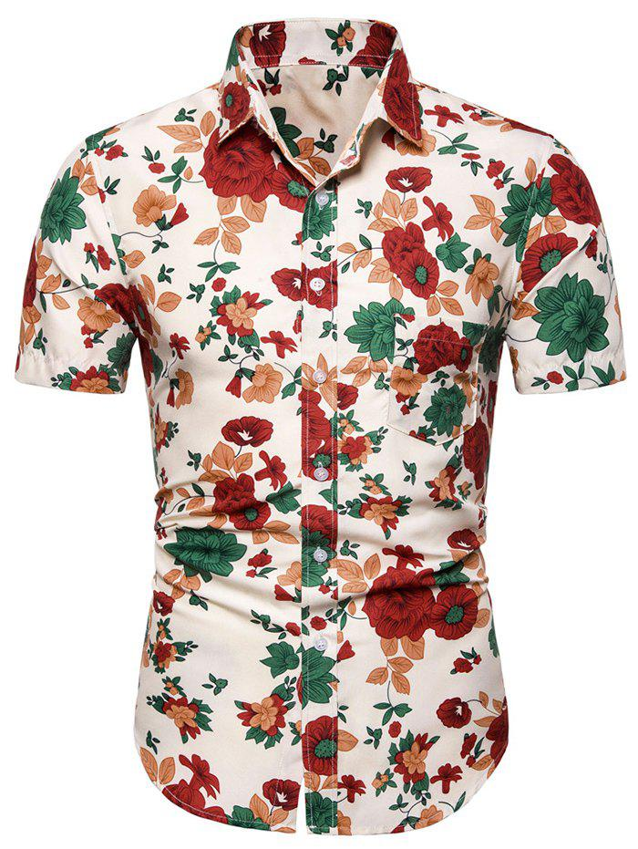 Flower Pattern Short Sleeves Leisure Shirt - multicolor M