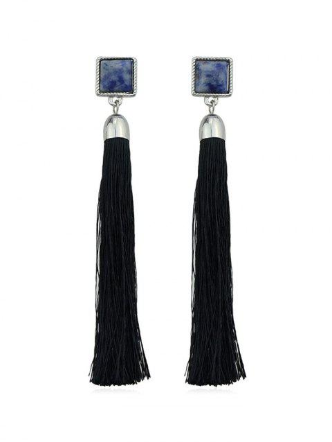 Square Marbling Tassel Dangle Earrings - BLACK
