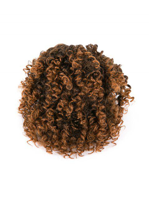 Afro Kinky Curly Ombre Short Synthetic Clip Hair Piece - multicolor A