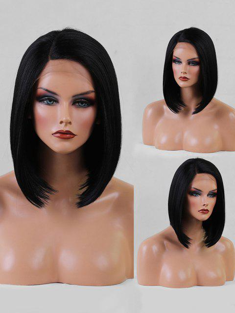 Short Side Parting Straight Bob Synthetic Lace Front Wig - BLACK