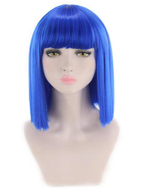 Short Full Bang Straight Cosplay Synthetic Wig - BLUE
