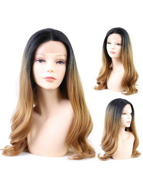 Middle Part Long Ombre Wavy Sythetic Lace Wig - multicolor