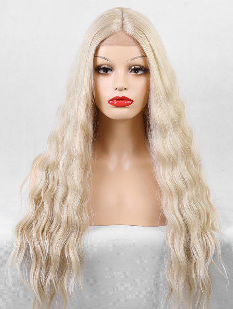 Long Center Parting Natural Wave Lace Front Synthetic Wig - SUN YELLOW