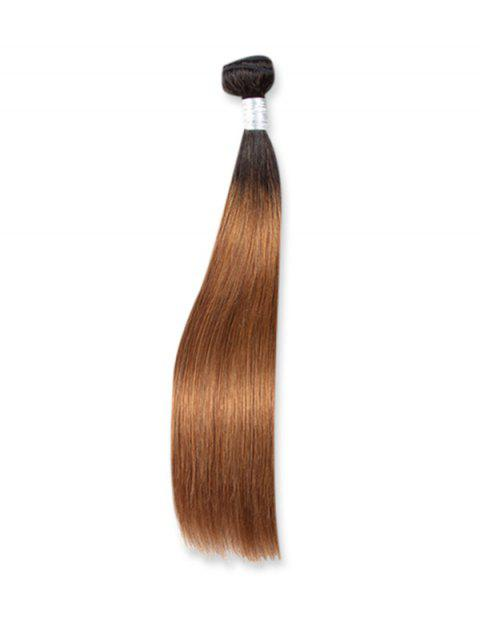 Straight Natural Ombre Human Hair Weft - multicolor B 16INCH