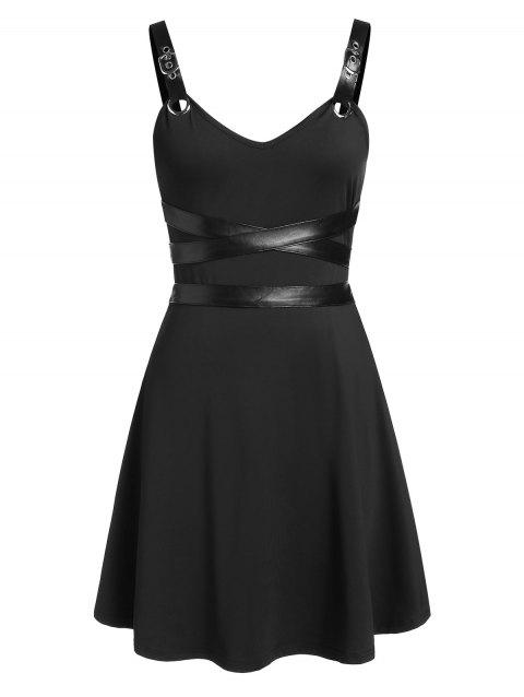 Sleeveless Faux Leather Insert Flare Dress - BLACK L
