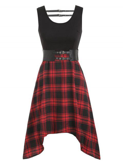 Plaid Buckle Belted Asymmetrical Dress - RED WINE 2XL