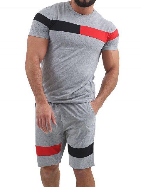 Color Block Panel T-shirt and Shorts Suits - LIGHT GRAY L