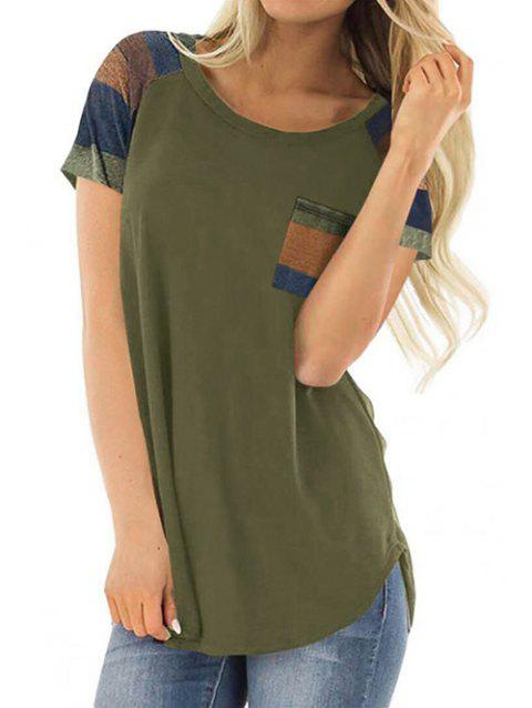 Casual Color Block Chest Pocket Tunic Tee - FERN GREEN XL
