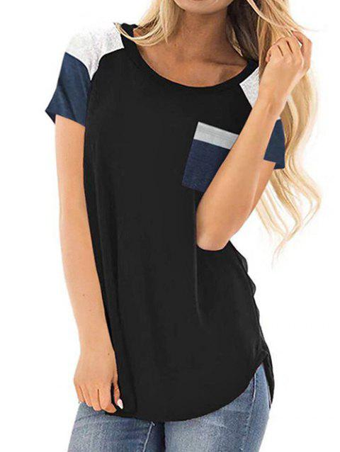 Casual Color Block Chest Pocket Tunic Tee - BLACK 2XL