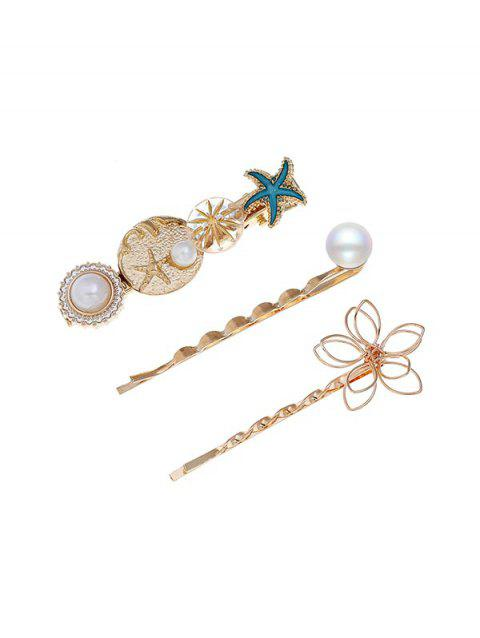 Holiday Style Starfish Faux Pearl Hairpin Set - multicolor A