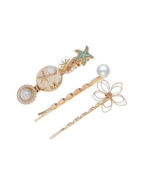 Holiday Style Starfish Faux Pearl Hairpin Set - multicolor C