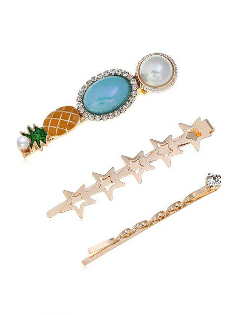 Sweet Pineapple Star Hairpin Set - multicolor A
