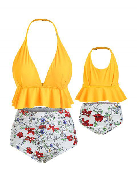 950388ac51 Halter Floral Plus Size Flounce Family Bikini Swimsuit - BRIGHT YELLOW MOM  5X