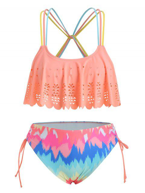 Plus Size Laser Cut Strappy Ruched Bikini Swimsuit - multicolor 5X