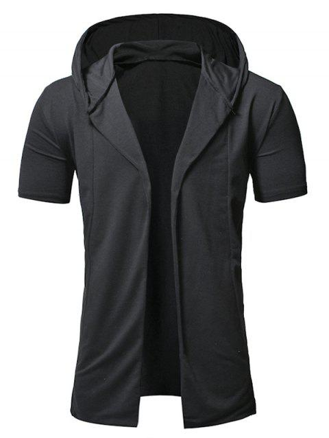 Solid Color Design Hooded Leisure T-shirt - BLACK XL