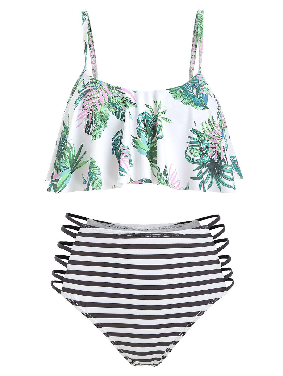 Leaf Print Striped Strappy Flounce Bikini Swimsuit - multicolor L