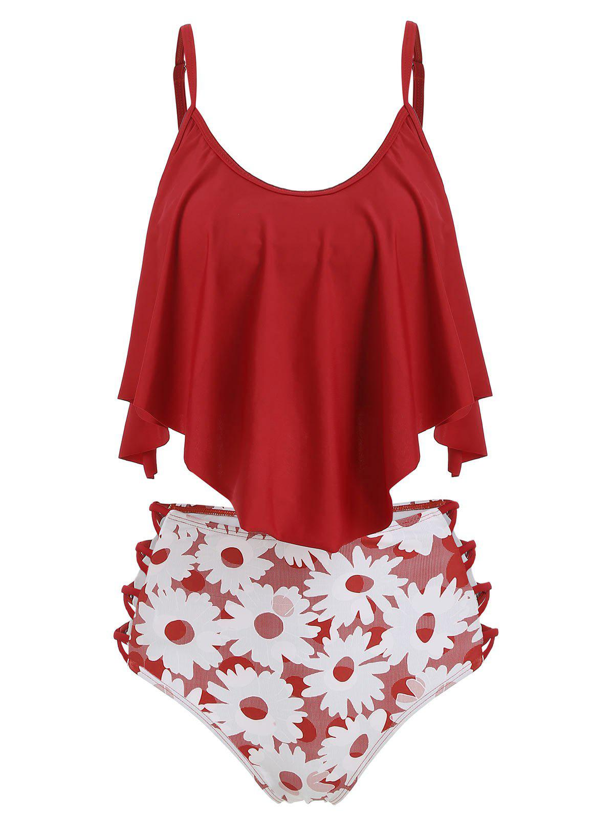 Floral Lattice Flounce Tankini Swimsuit - RED S
