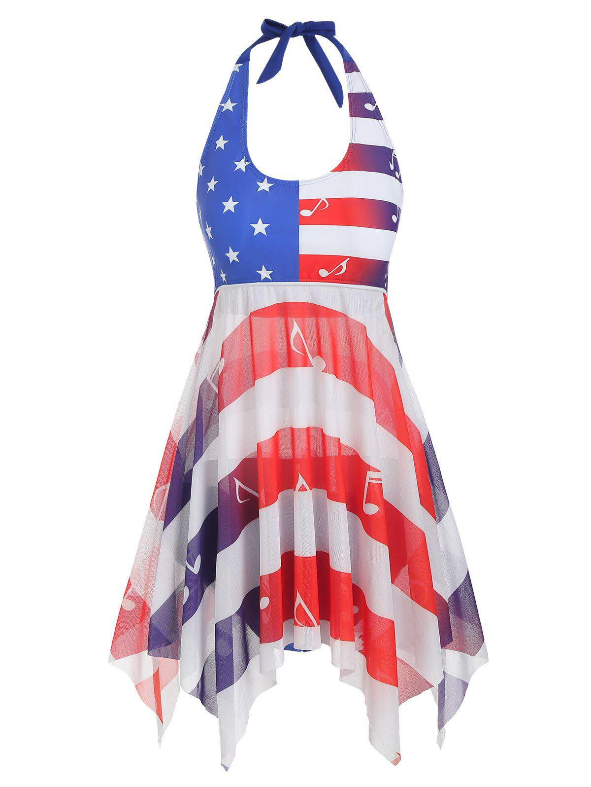 American Flag Musical Note Mesh Halter Tankini Swimsuit - multicolor 2XL