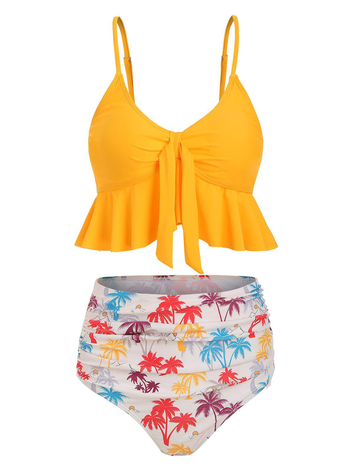 Knot Coconut Palm Ruched Hawaii Tankini Swimsuit - YELLOW 3XL