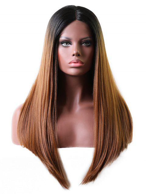 Middle Part Long Gradient Straight Lace Front Wig - multicolor