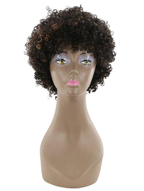 Short Inclined Bang Shaggy Afro Curly Human Hair Wig - multicolor A 10INCHES