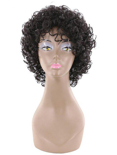 Short Side Bang Fluffy Afro Curly Human Hair Wig - BLACK 12INCHES