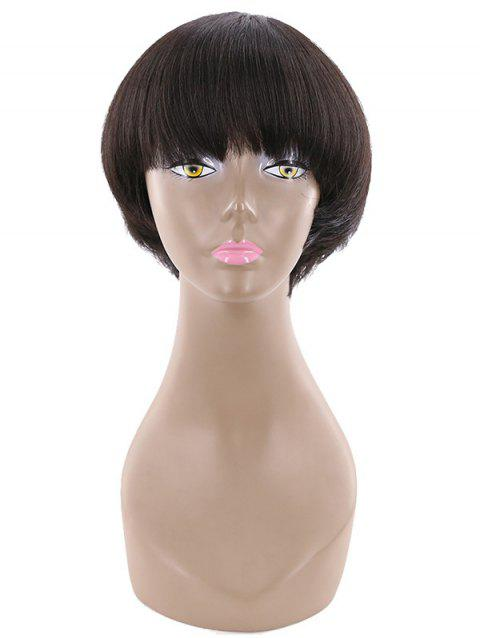 Short Natural Straight Bob Human Hair Wig - NIGHT 8INCH