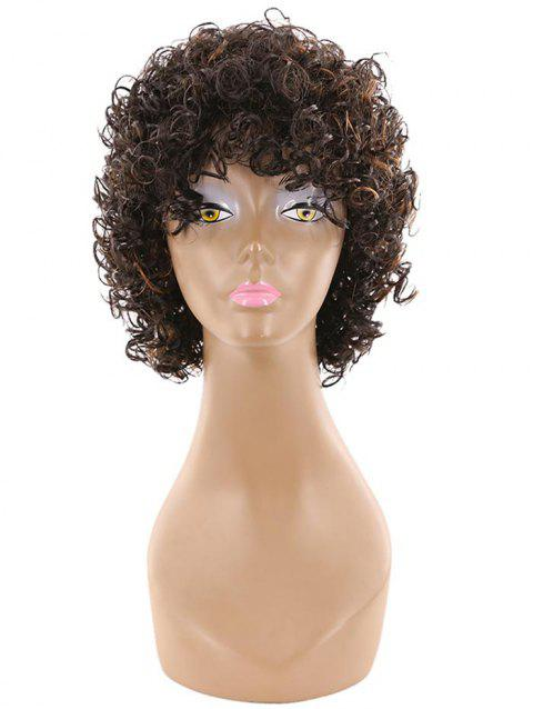 Short Side Bang Fluffy Afro Curly Human Hair Wig - multicolor A 12INCHES