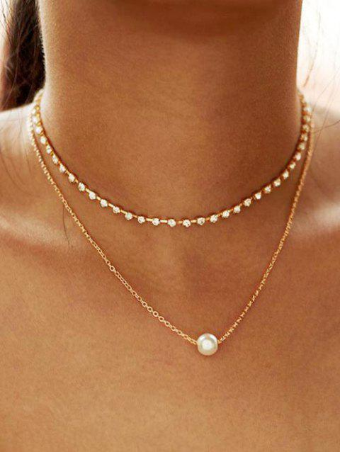 Faux Pearl Rhinestone Layered Necklace - GOLD