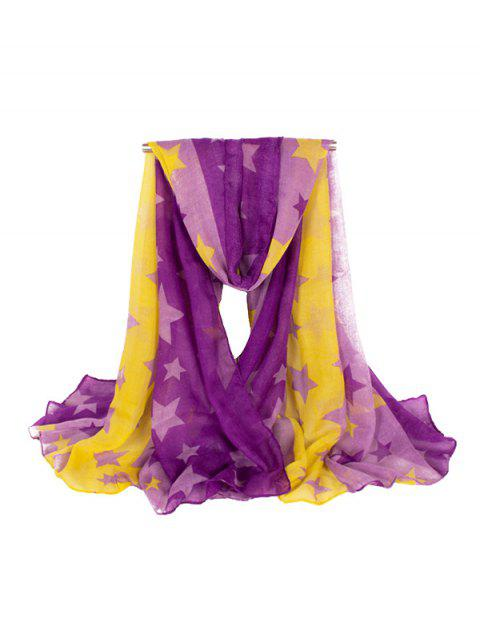 Color Block Star Striped Long Scarf - MAUVE