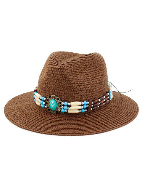 Beading Jewelry Decoration Straw Hat - COFFEE