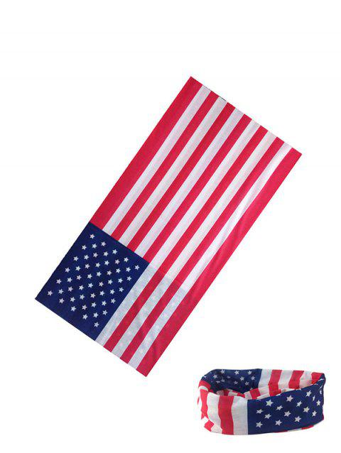 Riding American Flag Print Circle Head Scarf - ROSSO RED