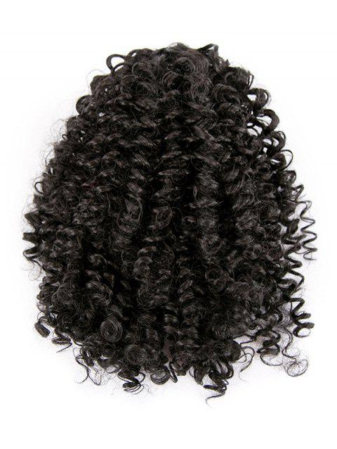 Afro Kinky Curly Synthetic Clip Hair Piece - NATURAL BLACK