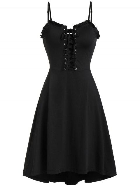 Lace Up Cami Flare Dress - BLACK M