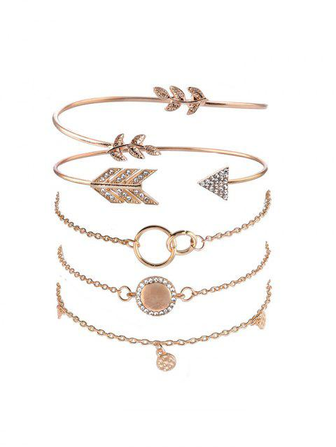 5Pcs Leaf Arrow Round Bracelet Set - GOLD
