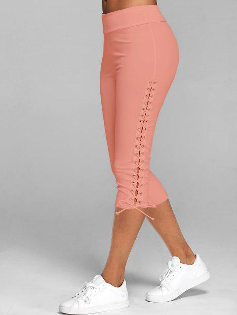 Legging Court Moulant à Lacets - Orange Rose 3XL