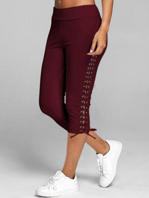 Lace Up Skinny Crop Leggings - RED WINE M