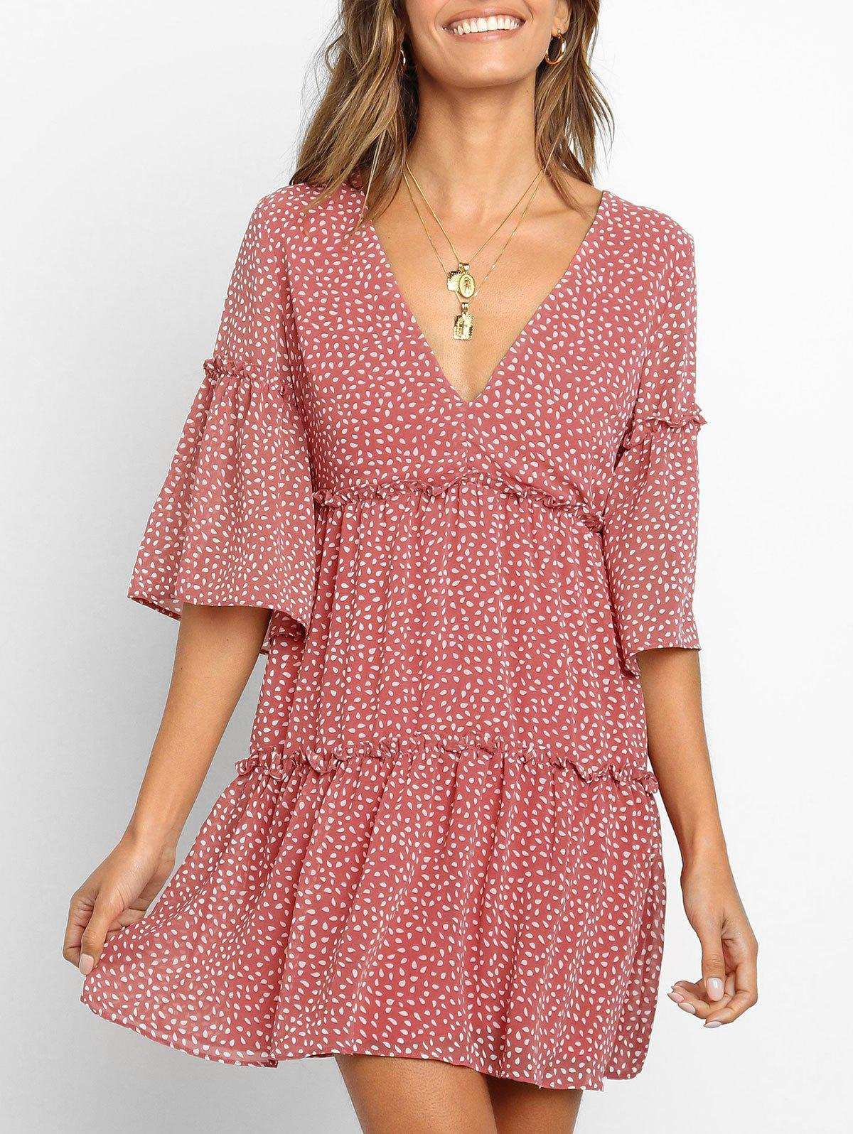 Water Drop Print Ruffle Flare Sleeve Dress - LIGHT CORAL M
