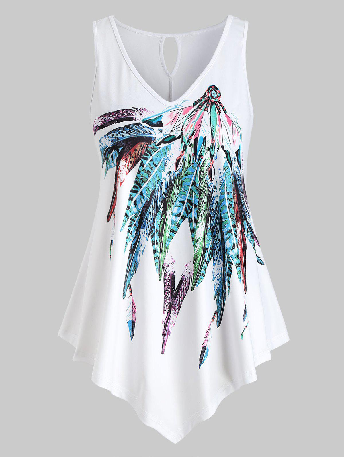 Plus Size Sleeveless Feather Print Top - WHITE L