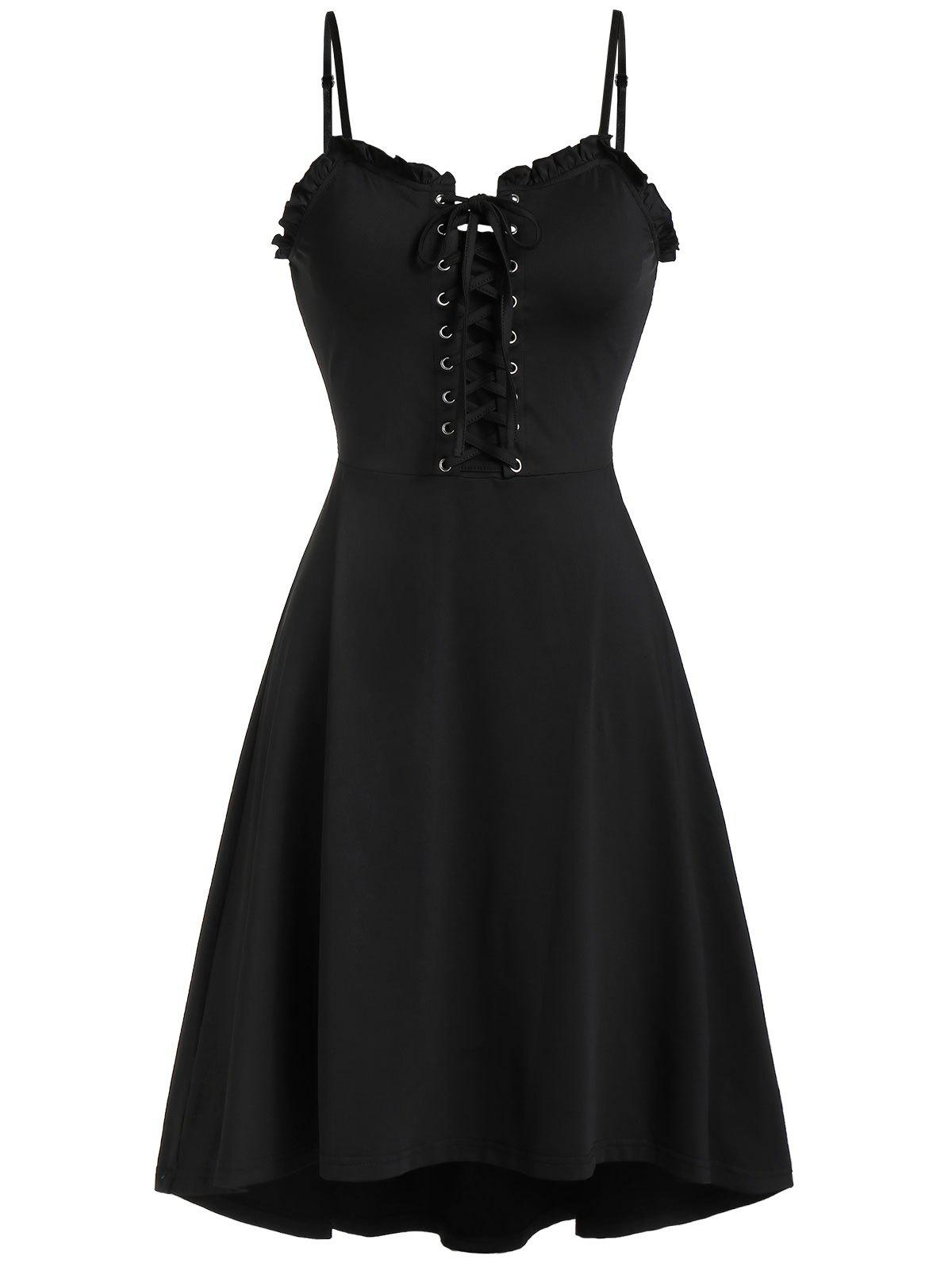 Lace Up Cami Flare Dress - BLACK S