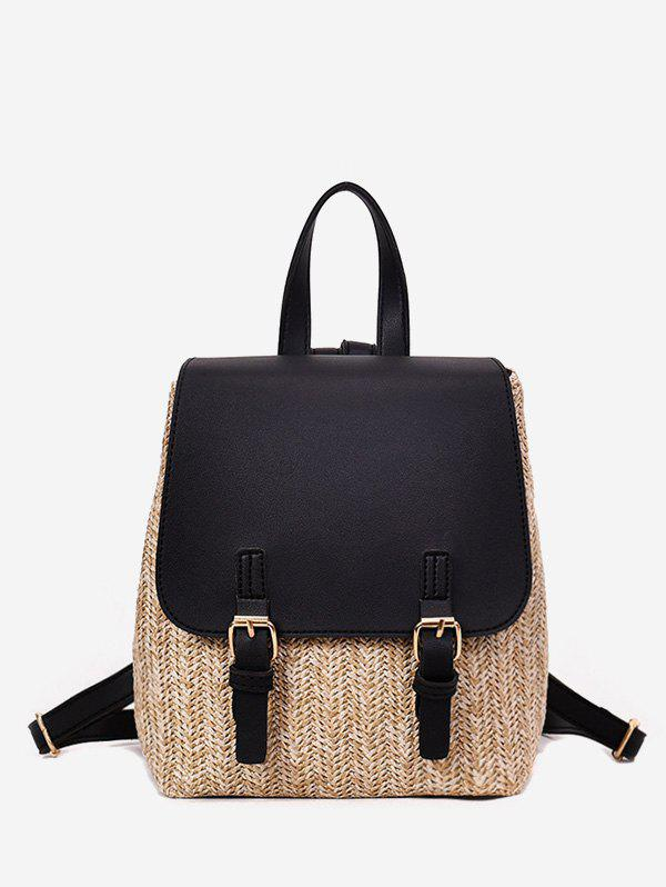 Straw Woven Casual Jointed Satchel Backpack - BLACK