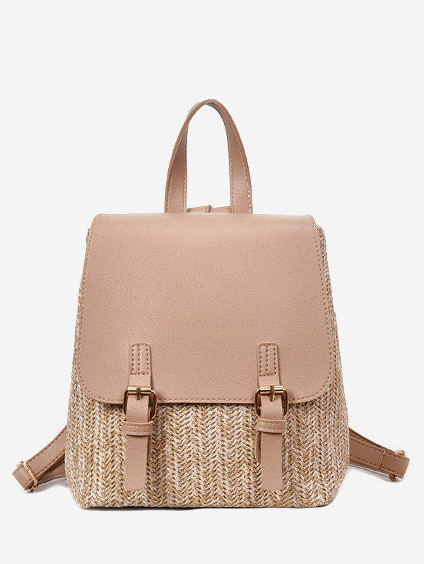 Straw Woven Casual Jointed Satchel Backpack - TAN