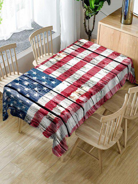 American Flag Wood Grain Pattern Fabric Tablecloth - RED 55 X 55 INCH