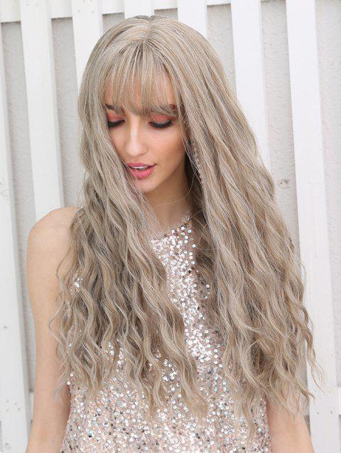 See-through Bang Long Wavy Synthetic Wig - LIGHT BROWN