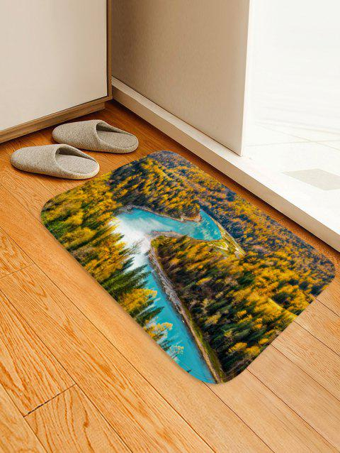 Tapis d'absorption d'eau en flanelle à motif de rivière Maple Forest - multicolor A W16 X L24 INCH