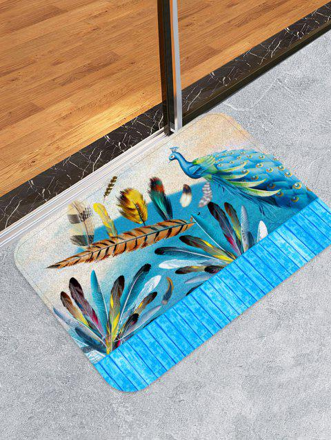 Peacock Feather Wooden Printed Design Floor Mat - DODGER BLUE W16 X L24 INCH
