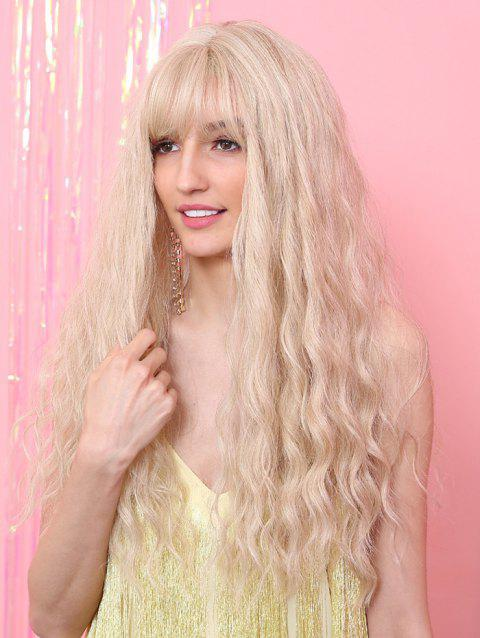 Long See-through Bang Slight Wavy Synthetic Wig - BEIGE